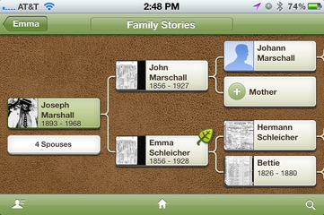 Pedigree Chart for Joseph Marshall from Ancestry app on iPhone.