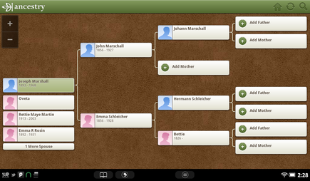 Pedigree Chart of Joseph Marshall from Ancestry app on Nook Tablet.
