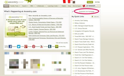 Customizing Your Ancestry.com Home Page via 4YourFamilyStory.com.