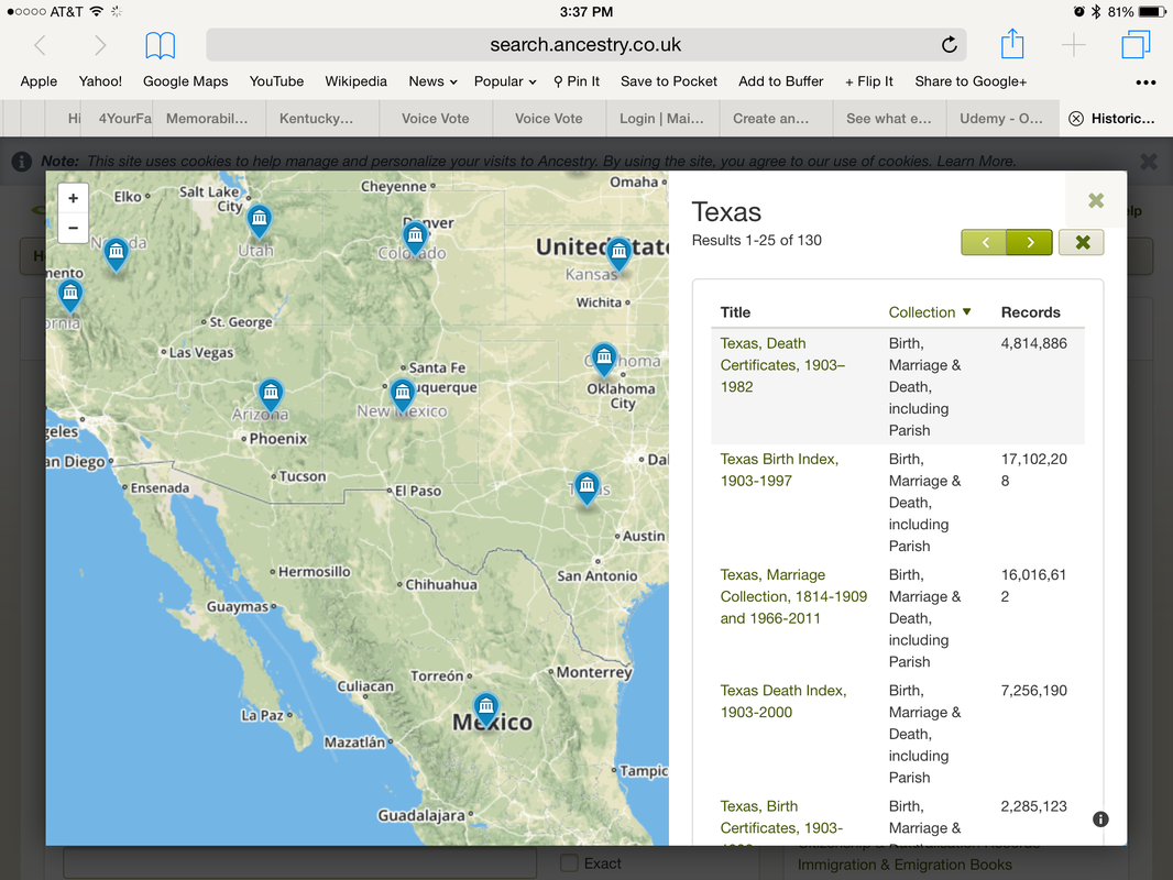 Ancestry collections list for Texas on iPad (UK version)