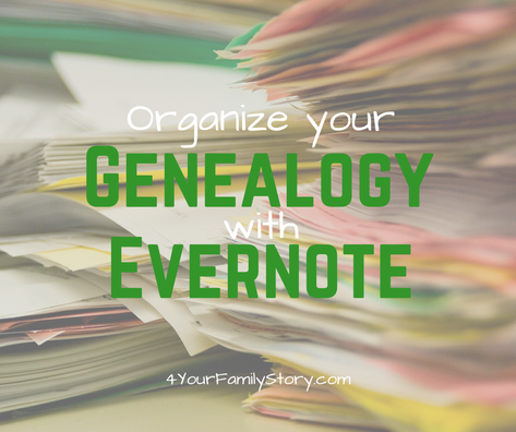 Organize Your Genealogy With Evernote with this Free Video Tutorial and Links to Free Resources via 4YourFamilyStory.com. #genealogy #Evernote #organization
