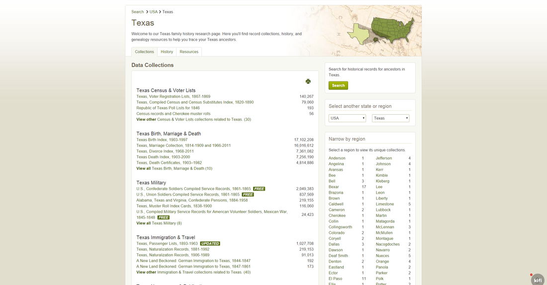 Ancestry Collections for the US state of Texas (US version)